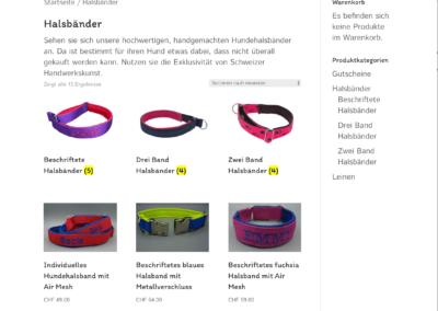 Referenzbild Homepage Webshop Hundedinge Schweiz